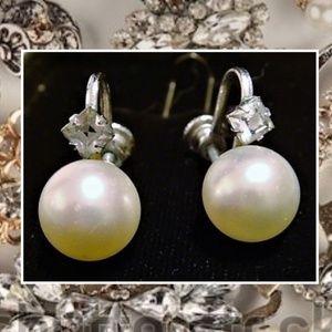 Vintage Rhinestone Faux Pearl Screw Back Earrings
